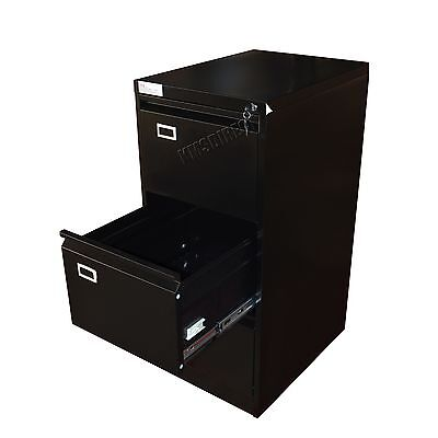 FoxHunter Steel A4 Filing Cabinet With 3 Drawer Storage Office Furniture Black