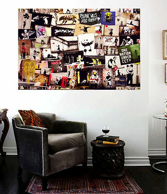 Banksy Street Art Collage Huge 36x24 Canvas Print Collage Vol 5 Graffiti NYC