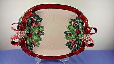 "1995 Large Fitz And Floyd 16""W Christmas Holiday Serving Platter"