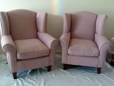 Queen Anne Arm Chair X 2 Fireside Wing Back Chairs