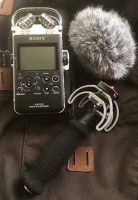 SONY PCM-D100 with Rycote PCM-D100 Audio kit plus Movo Wind Jammer