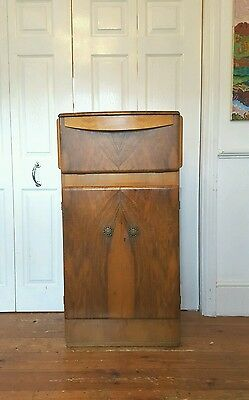 Vintage Art Deco Walnut Cocktail Drinks Cabinet Mirrored  London SE14 - Delivery
