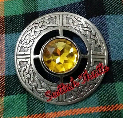 "New Scottish Kilt Fly Plaid Brooch Yellow Stone Silver Brushed Antique 3""/Celtic"