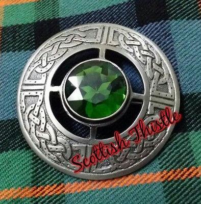 "Men's Celtic Fly Plaid Brooch Green Stone Antique 3""/Kilt Fly plaid Brooches"