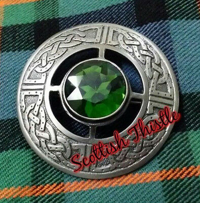 """Men's Celtic Fly Plaid Brooch Green Stone Antique 3""""/Kilt Fly plaid Brooches • EUR 15,20"""