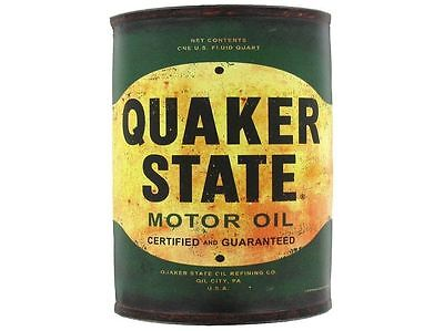 """Retro Style Collectible Metal Half Oil Can/sign """"quaker State"""" Hang On Wall"""