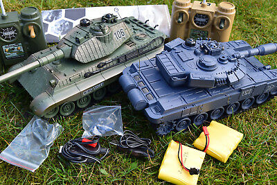 Heavy Large Interactive Twin Battle Tank Rc Radio Remote Control Infrared 1:28