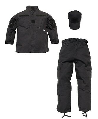 Kids 3 pc Trooper Black Tactical Replica Uniform Ripstop Pants Jacket Hat