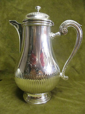 Frenc silverplate gallia christofle coffee pot gadroons Louis XV style cn