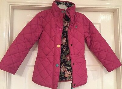 Joules Girls Pink Quilted Coat / Jacket Age 6