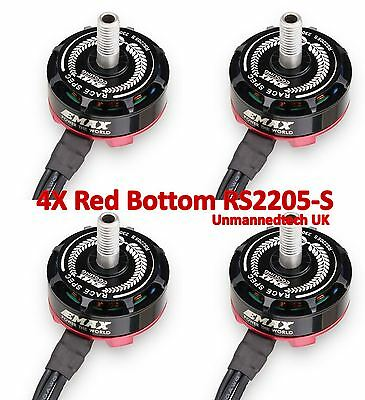 4x Emax RS2205-S new design Red Bottom Motors with arc magnets