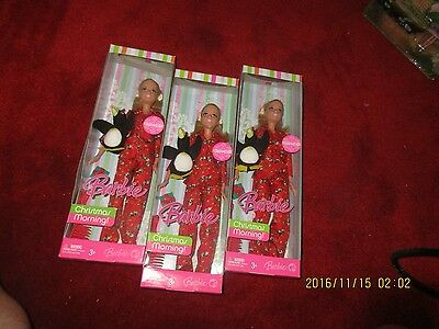 2 Target Exclusive 2007 Barbie Christmas Morning With Penguin Ornament