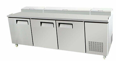 """Select 93"""" 3 Door Pizza Prep Table Refrigerated W/ Casters & Pans"""
