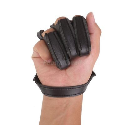 Archery Hunting 3 Finger Leather Hand Protect Glove Guard Bow Shooting