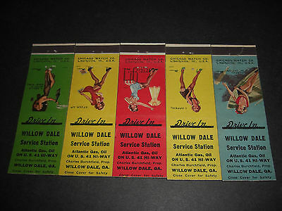 Pin-Up 1949 Willow Dale  ATLANTIC Service Station Matchcovers Set of 5