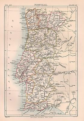 1898 Antique Map Europe Portugal