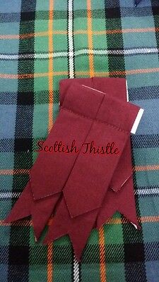 New Men's Kilt Hose Sock Flashes Maroon Tartan Scottish Kilt Flashes Hose Sock