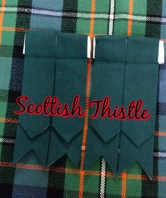 New Men's Kilt Hose Sock Flashes Bottle Green Tartan/Scottish Kilt Flashes Plain