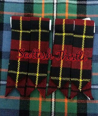 Men's Kilt Hose Sock Flashes Wallace Tartan/Scottish Kilt Flashes Hose Sock