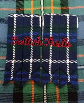 Men's Kilt Hose Sock Flashes Blue Douglas Tartan/Scottish Kilt Flashes Douglas