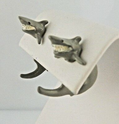 EARlusion 3D Hand painted Pewter Jewelry Shark earrings