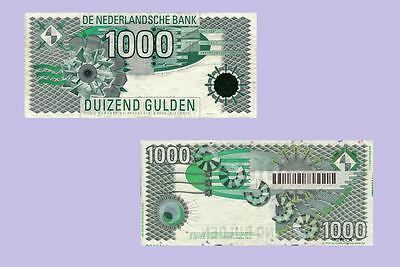 Netherlands 1000 Gulden Banknote 1992.  UNC - Reproductions