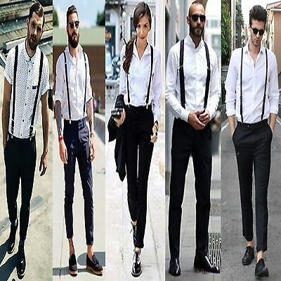 New Unisex Ladies Mens DUTY Braces Suspenders Elastic Adjustable Slim Fancy Belt