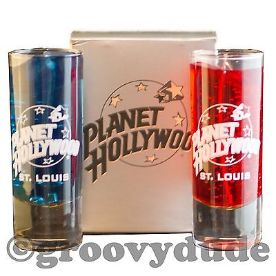 St Louis Planet Hollywood Red & Blue Scented Gel Candle PH Tall Shot Glasses New