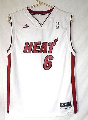 Miami Heat White Basketball Jersey #6 James *Youth Size Large*100%Polyester Used