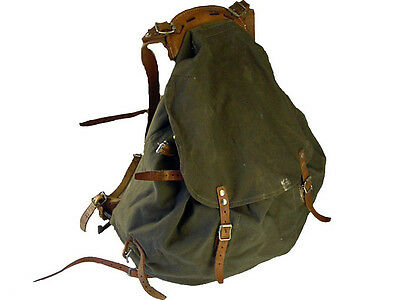 100% Supergrade Vintage Nordic Canvas Leather Iron Frame Backpack 1940s style
