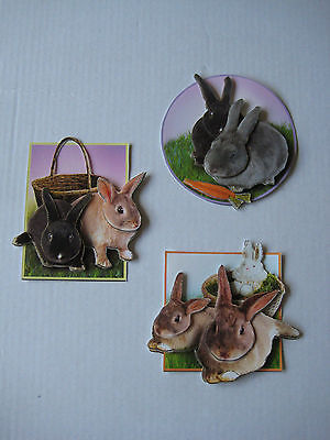 3 Decoupage Card toppers. Rabbits. Birthday, Well done, Good Luck, Thank You