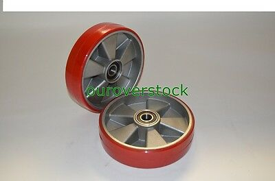 Pair of Brand New Pallet Jack Steer Wheels Poly / Aluminium 8 x 2 w/bearings