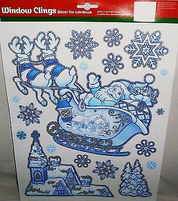 Christmas Window Clings  SANTA FLYING OVER VILLAGE   BLUE  with GLITTER