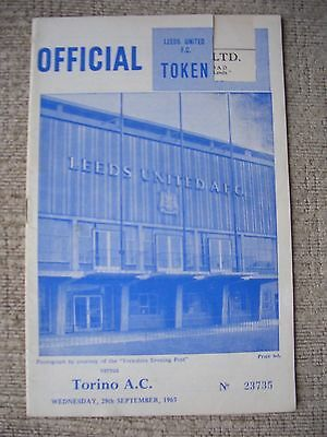 1965...LEEDS UNITED v TORINO A.C. INTER CITY FAIRS CUP....... Football Programme