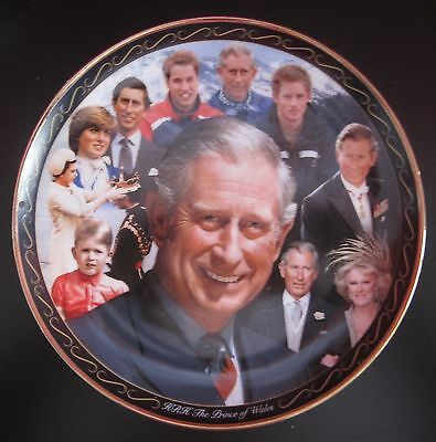 Prince Charles 60th Birthday Plate with 7 Portraits - Royal Worcester