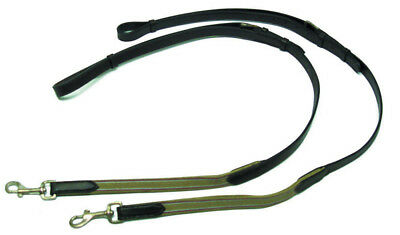NEW Leather Side Reins with elastic+clips adjustable for training+lunging horse