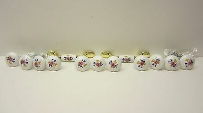 Set of 11 Vintage Knobs & 2 Pulls White Ceramic w/ Floral Print Shabby Chic