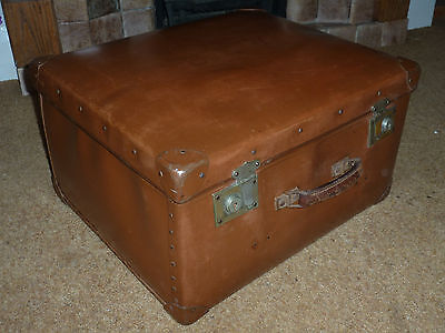 Large Solid Antique Leather Look Suitcase Travel Trunk Chest Vintage Retro