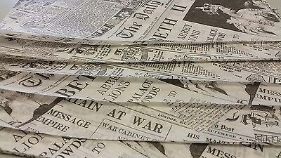 Greaseproof paper sheets, Printed Newspaper , fish chips, takeaway fast food
