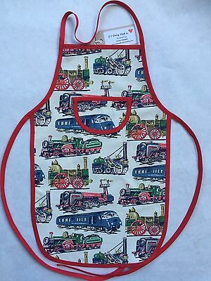 Cath Kidston Handmade Trains Cotton Duck Children's/boys Apron Age 2 - 5 yrs