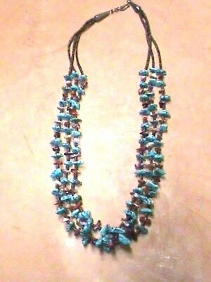 Native American Necklace Turquoise and Purple Spiny Oyster Authentic #17