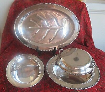 Three Silver Plate Serving Pieces, Meat Platter, 2 Divided Servers
