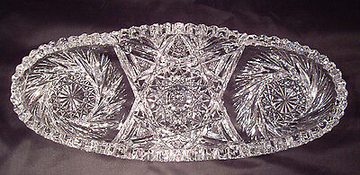 """ABP American Brilliant cut glass oval celery dish signed """"Fry"""""""