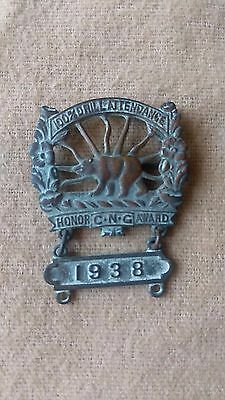 Pre WWI 1938 California National Guard Attendance Honor Award Badge