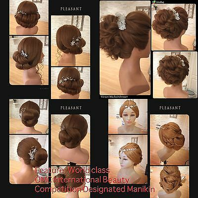 """22"""" Real Hair Hairdressing Cosmetology Shoulder Mannequin Manikin Training Head"""