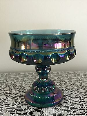 Vintage Iridescent Blue Purple Indiana Carnival Glass Candy Dish