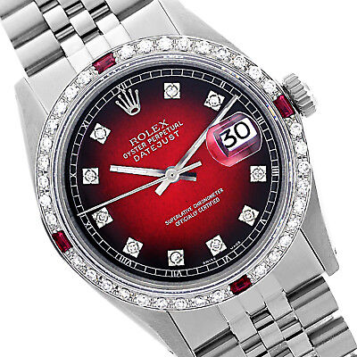 Rolex Men's Datejust Steel 36mm Red Vignette Diamond Dial and Bezel - Pre-Owned