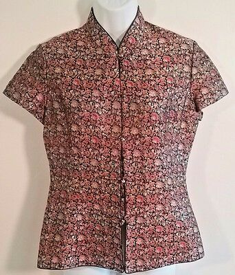 Chinese Short Sleeve Satin Cheong-Sam with Cloisonne Buttons Size S/M