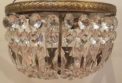 "Vintage Crystal Flush Mount Chandelier Ceiling Fixture Italy 12"" - 16 Available"
