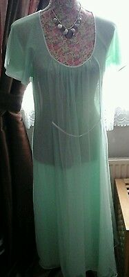 VINTAGE LADIES PASTEL GREEN LONG NIGHT DRESS DOUBLE LAYER 1960s SIZE 12